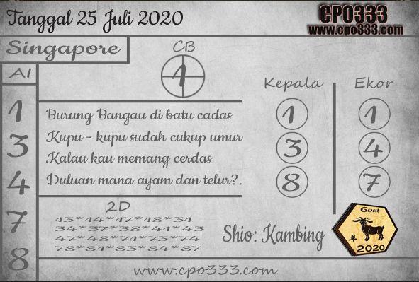 Prediksi Togel Singapore Hari Ini Sabtu 25 July 2020 2020