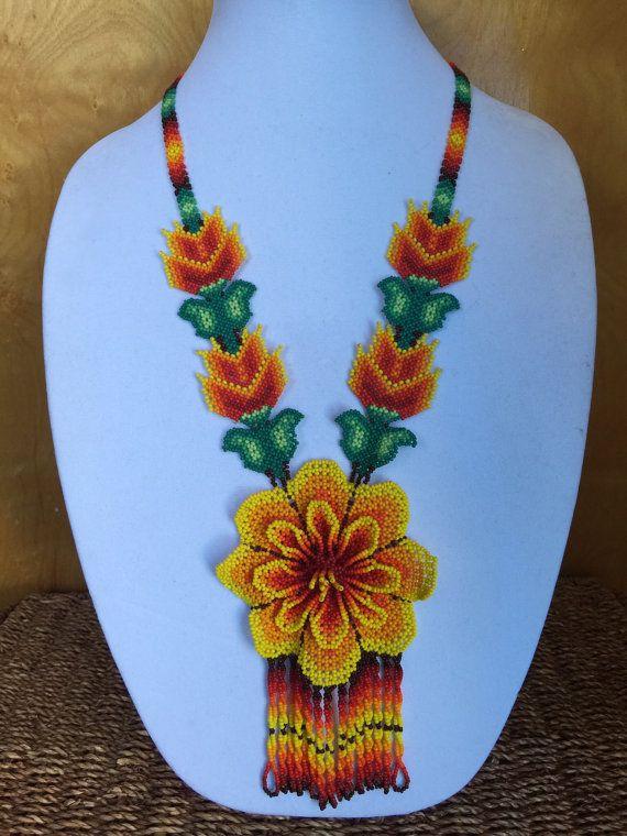 Yellow chaquira flower set