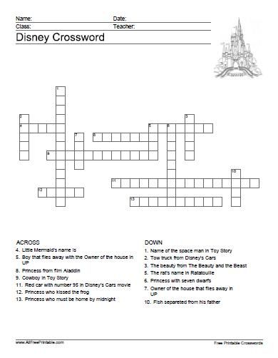 Free Printable Disney Crossword