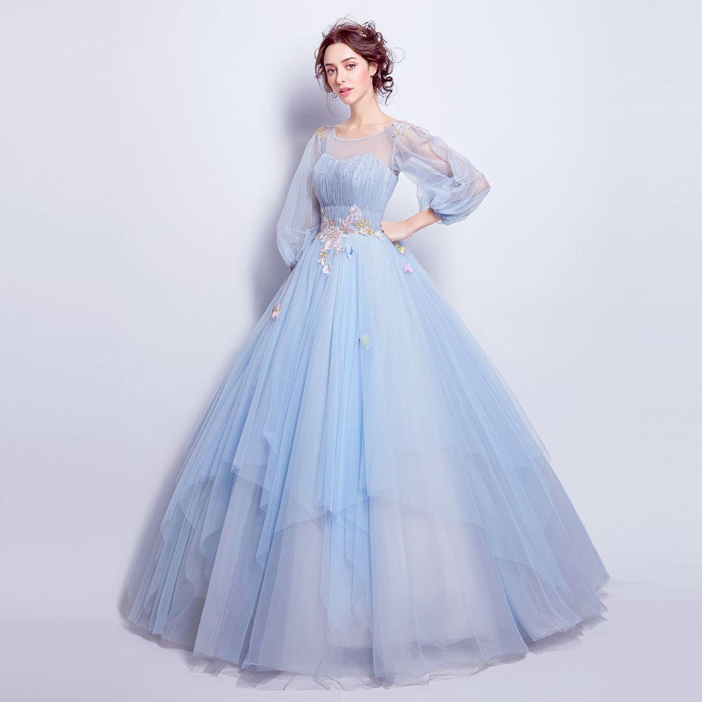 Angel Wedding Dress Marriage Evening Bride Party Prom Bridal Gown Vestido De Noiva 2017blue Long Sleeve6001