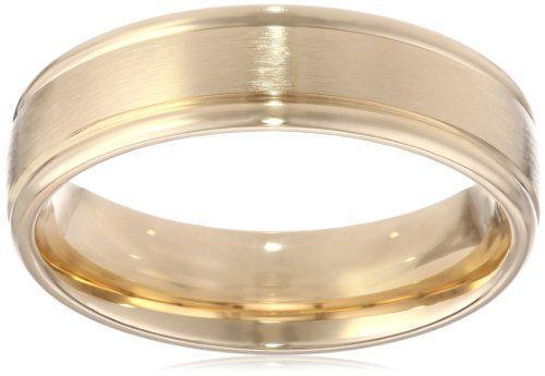 Men's 14k Yellow Gold Comfort-Fit Plain Wedding Band with Satin Center (6 mm)