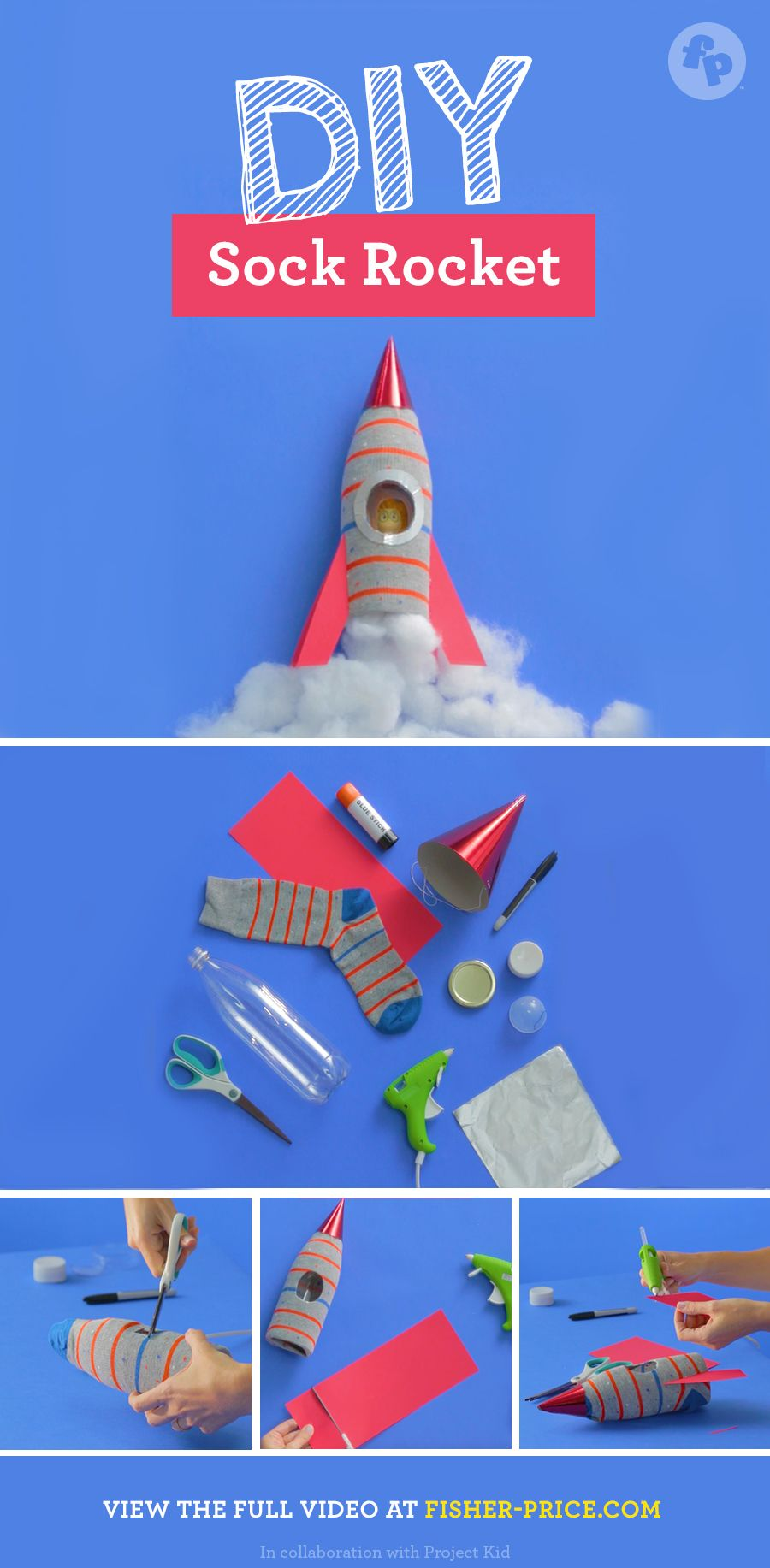 Baker Ross Stand-up Wooden Rockets for Kids Perfect for Childrens Arts Crafts and Decorating for Boys and Girls Pack of 6