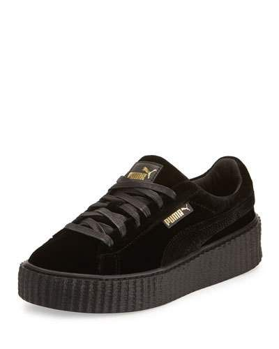 X3HWR Fenty Puma by Rihanna Velvet Low Top Creeper, Black