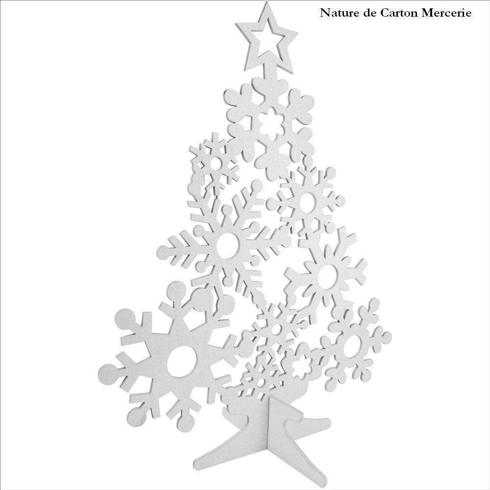 Sapin dentelle en bois blanc d corer d coration de for Decoration interieur noel