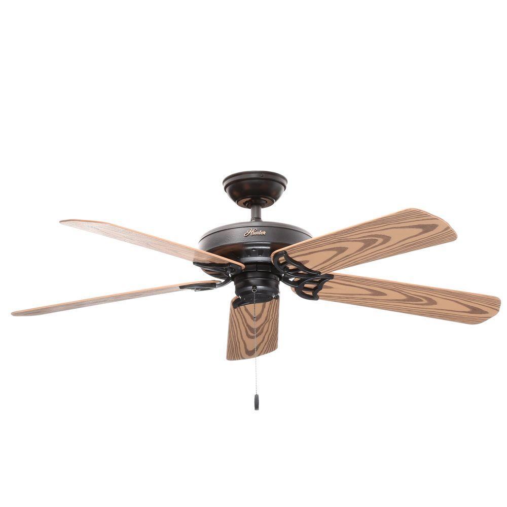 Hunter Bridgeport 52 In Indoor Outdoor Black Damp Rated Ceiling Fan Ceiling Fan Hunter Ceiling Fans Home Depot