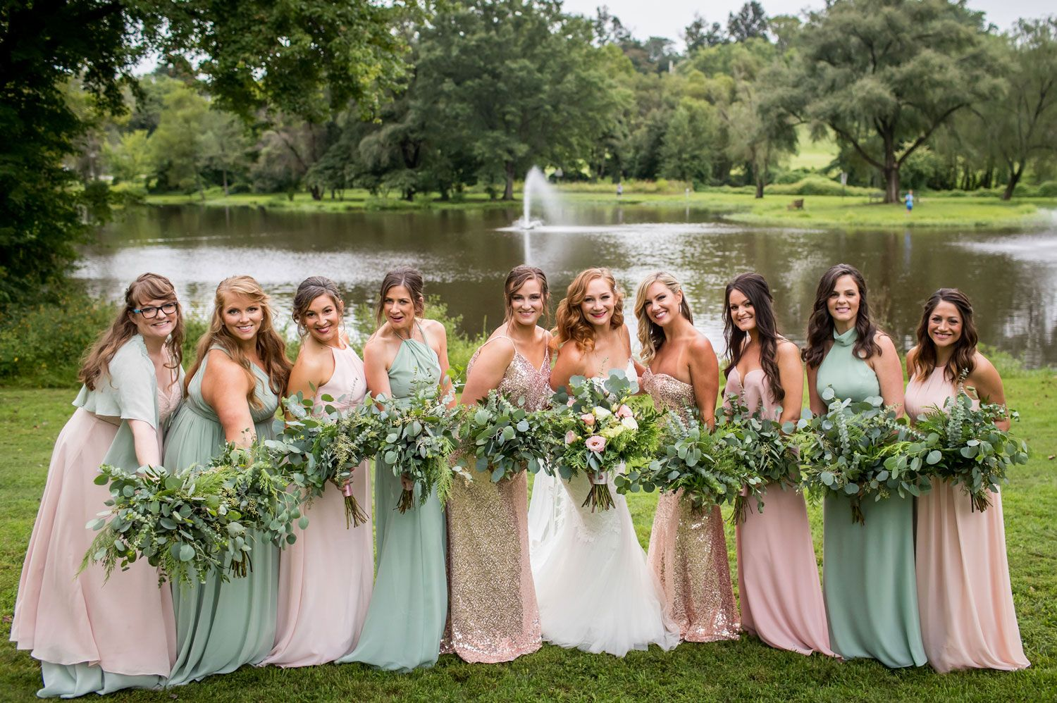 Mismatched Bridesmaid Dresses In Blush Pink And Sage Green Something Unique Sage Green Bridesmaid Dress Blush Pink Bridesmaid Dresses Sage Bridesmaid Dresses
