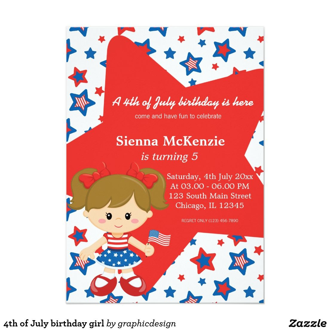 4th of July birthday girl Invitation   Deluxephotos All Kinds of ...