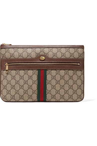 3187cf3e9f5 GUCCI Ophidia textured leather-trimmed printed coated-canvas pouch.  gucci