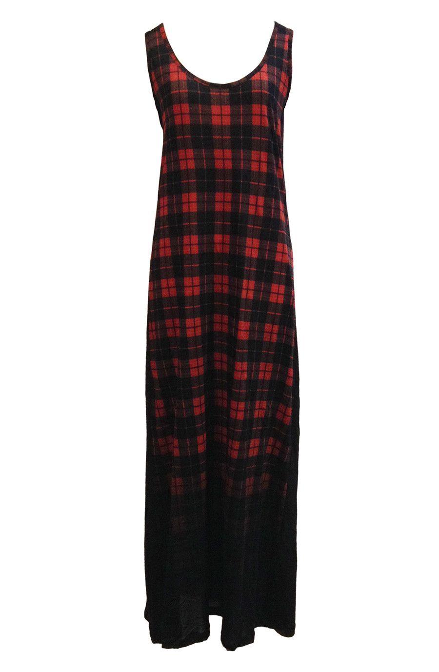 Red u black ombre tartan long plaid maxi dress by kill star plaid