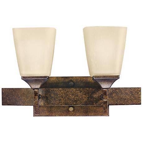 "Marbled Bronze Finish 2-Light 16"" Wide Bath Light - #J8551 | www.lampsplus.com"