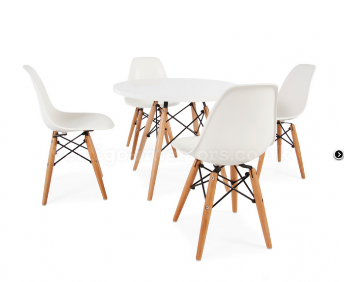 Children's Eames DSW Style Table & Chair Set White Nubie
