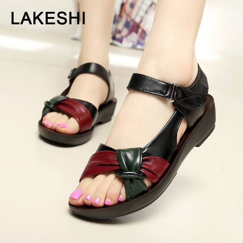 LAKESHI Women sandals 2018 summer flat sandals fashion Mother shoes leather  Soft bottom ladies sandals comfortable d35ba954f256