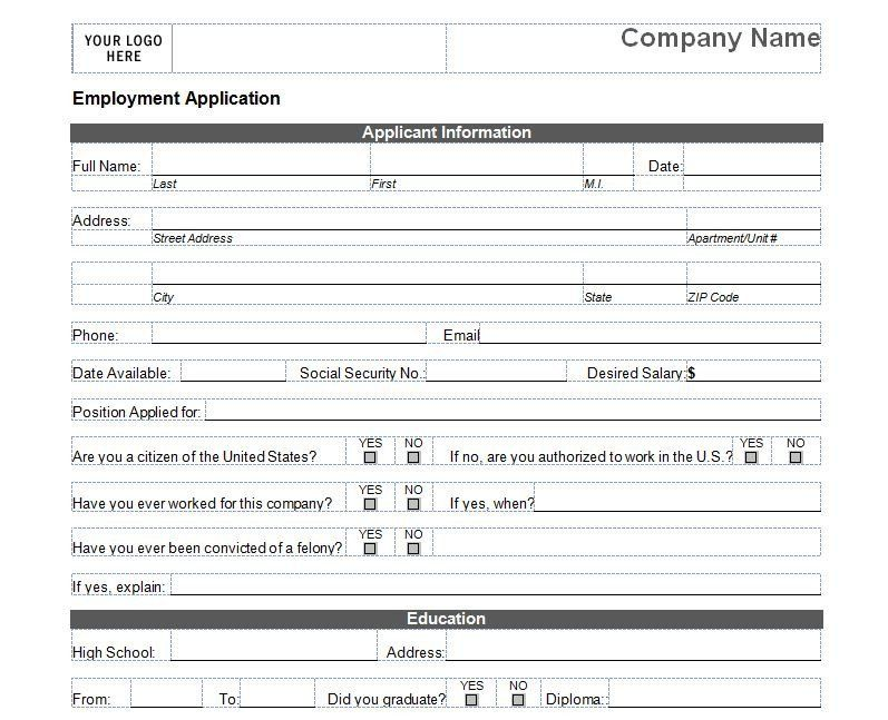 28 Simple Job Application form in 2020 Employment