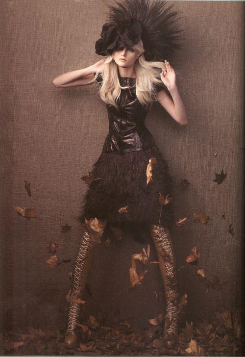 Fall leaves fashion editorial