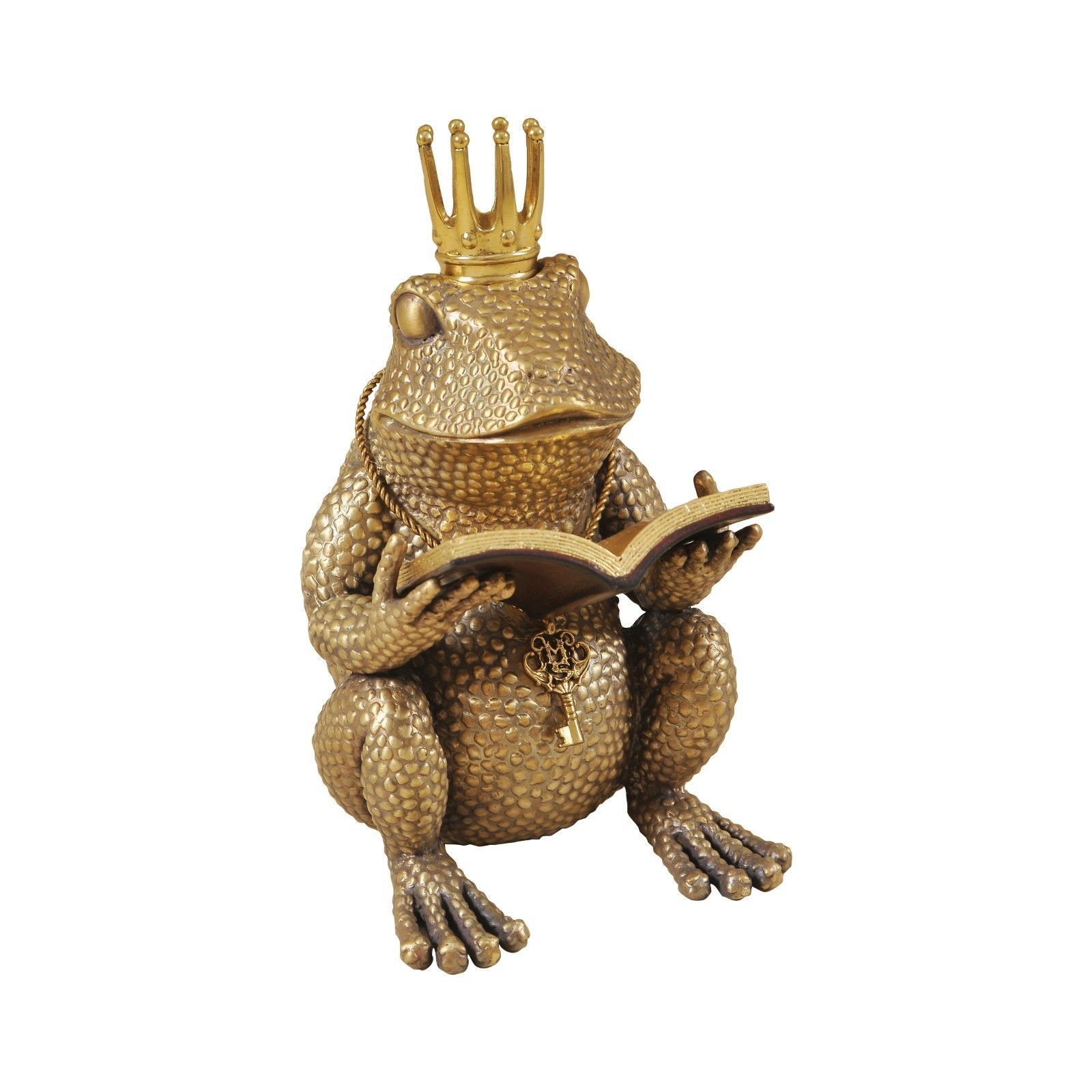 maitland smith antique finished cast brass frog reading book 1059