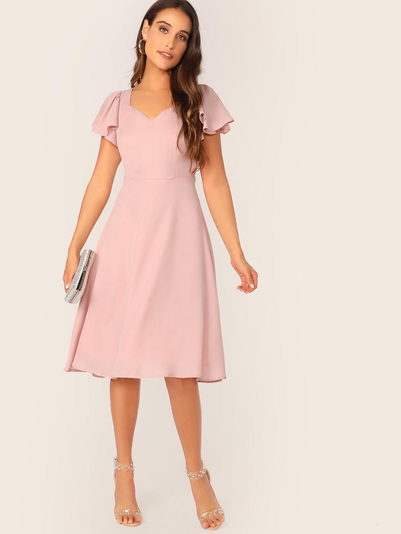 Flutter Sleeve Sweetheart Neck Fit Flare Dress Fit Flare Dress Flare Dress Midi Dress With Sleeves [ 1785 x 1340 Pixel ]