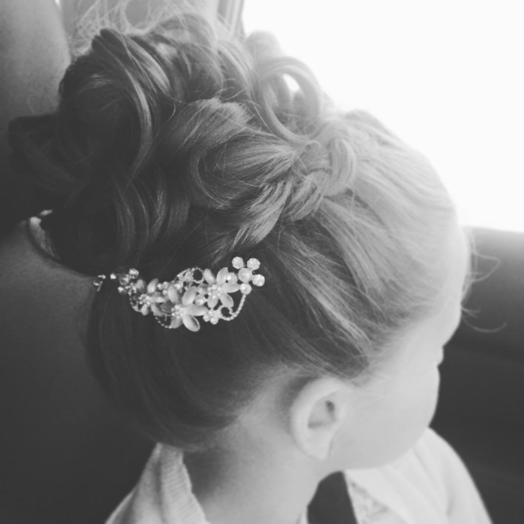 little girl high bun & braid hairstyle | flower girl hair