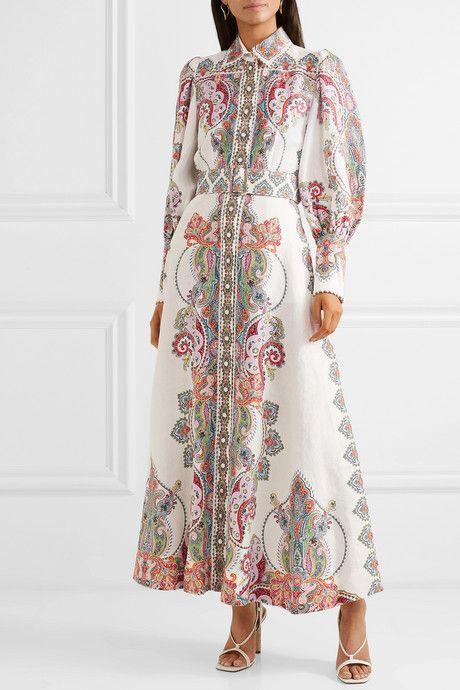 Ninety Six Belted Printed Linen Maxi Dress Linen Maxi