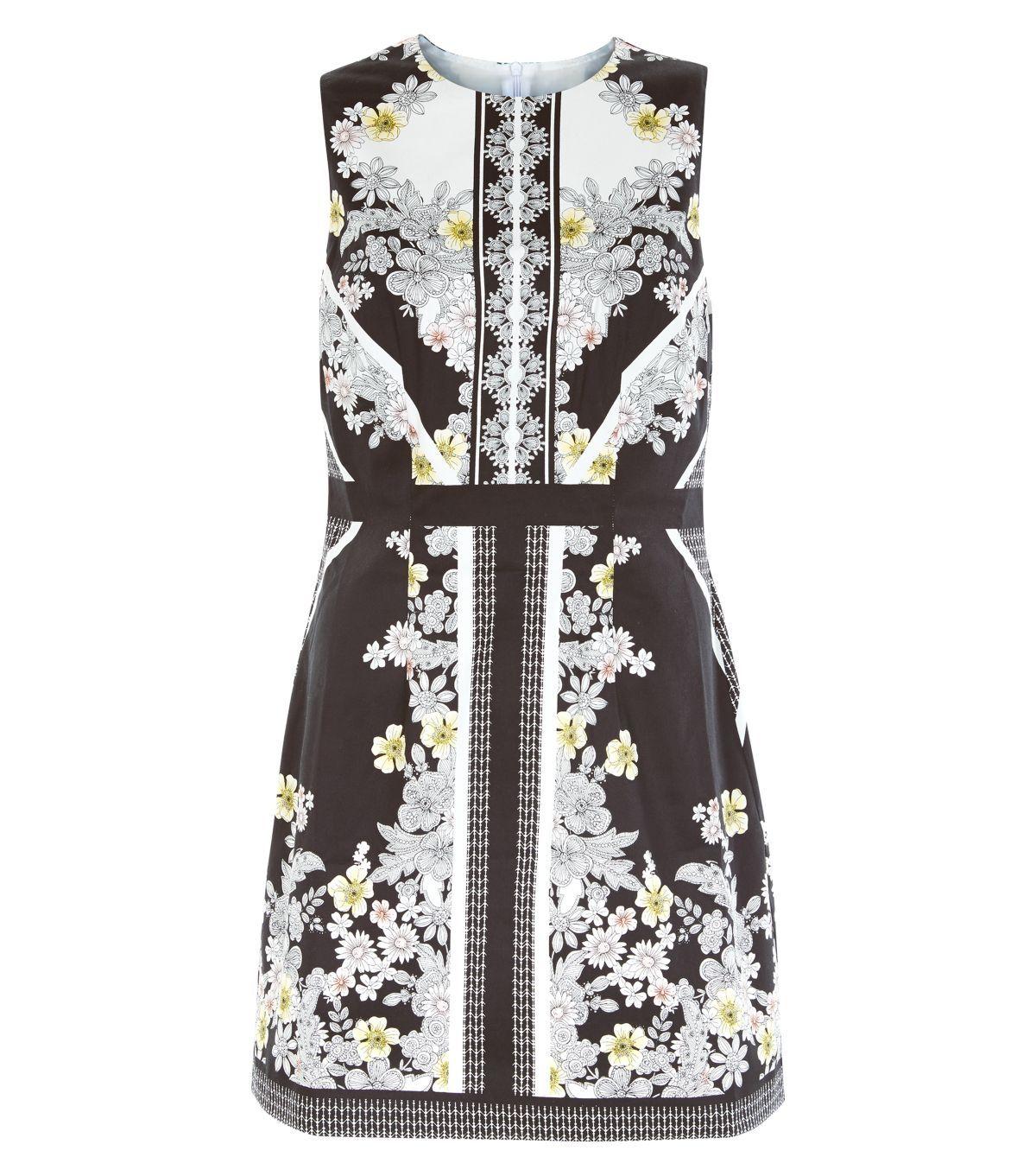 Black floral print panel sleeveless dress floral printing and black