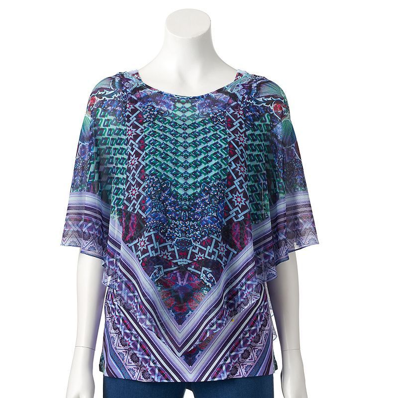 Women's World Unity Embellished Popover Top, Size: