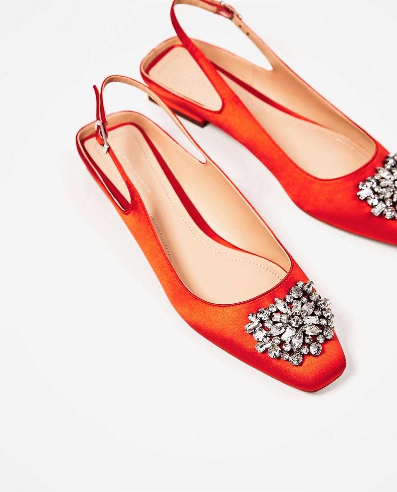 cfe53a7adc8 Zara Ss17 Flat Slingback Shoes With Beaded Detail Orange 1352 201 ...