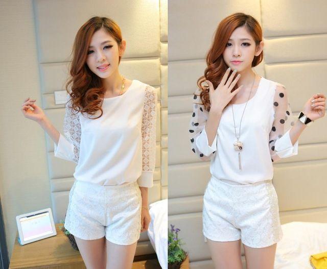 Más el tamaño S-XXL Top + Shorts 2 Color 2014 nueva moda Women Work Wear Lace Blusas de manga primavera camisa de gasa blusa Top para mujeres