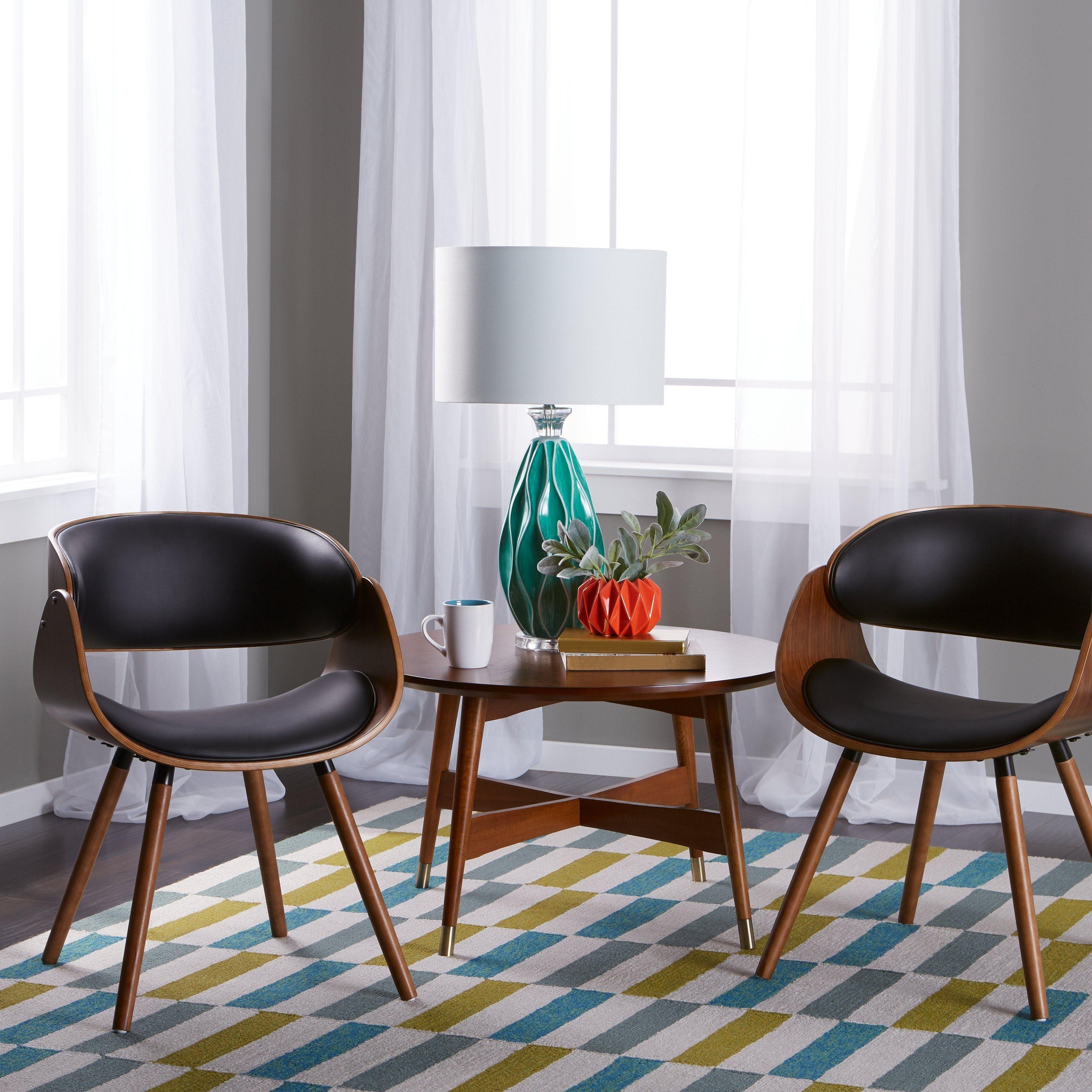 Corvus midcentury modern accent chair 2 chairs black