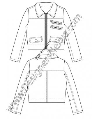 V34 Jacket Vector Drawing Illustrator Flat Fashion Sketch Template ...