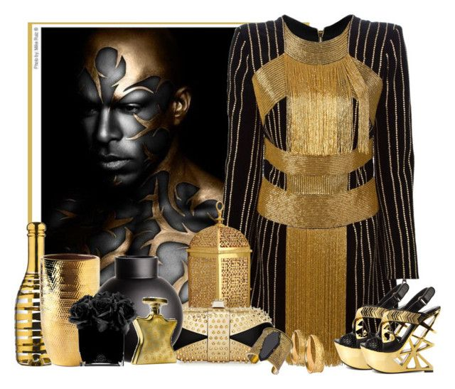 """""""noir et or"""" by frane-x ❤ liked on Polyvore featuring Balmain, L'Objet, Christian Louboutin, Kosta Boda, Alice + Olivia, Privileged, AERIN, H&M, Gottex and Hervé Gambs"""