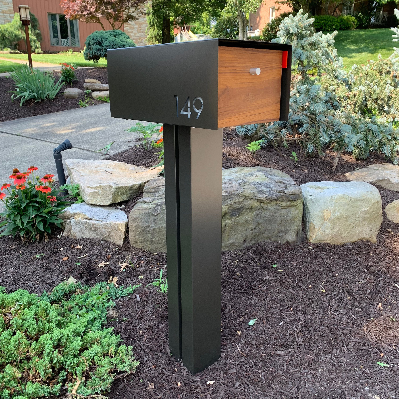 Modern Mailbox Post 6 Square Etsy Modern Mailbox Post Modern Mailbox Modern Mailbox Diy
