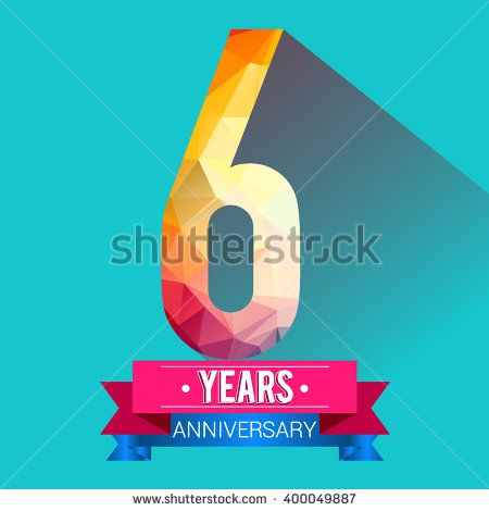 6 Years Anniversary logo. with colorful polygonal design elements. - stock vector