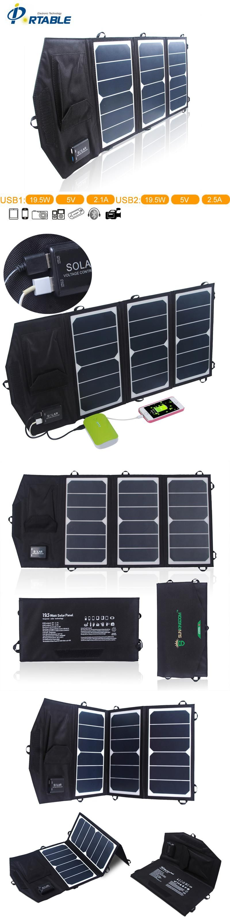 high efficiency outdoor 19 5w folding solar charger solar panel