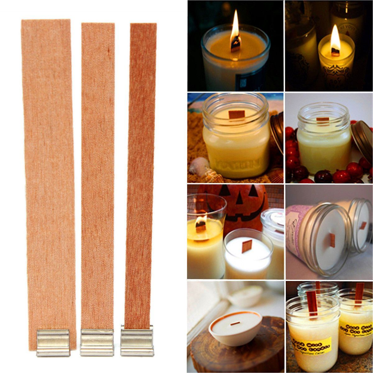 Details about 250pcs Candle Wood Wick Sustainer Tab