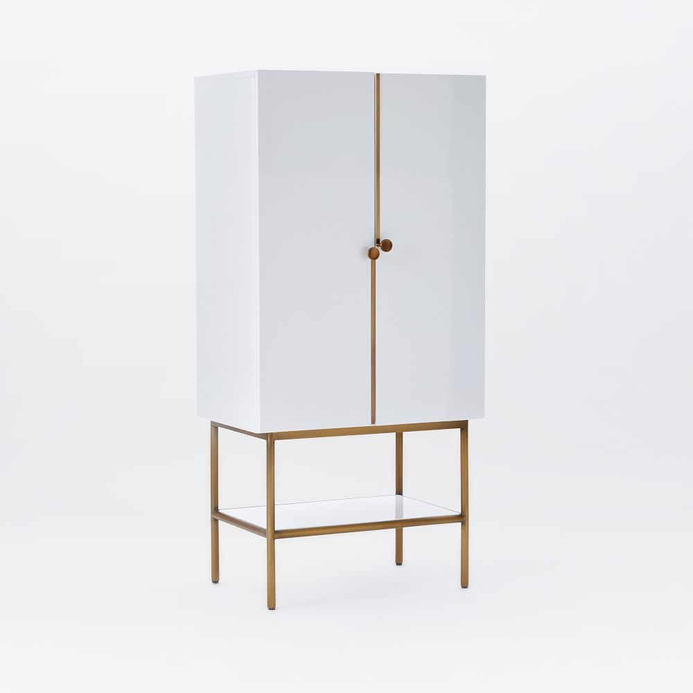 Great Downing Bar Cabinet   White/Antique Brass