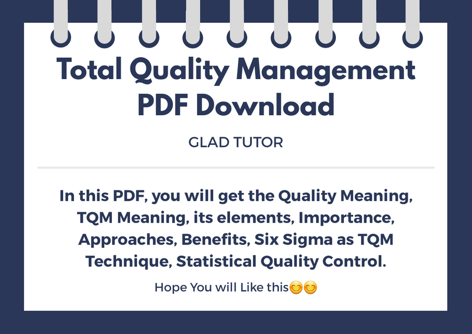 Total Quality Management PDF Notes | Production and
