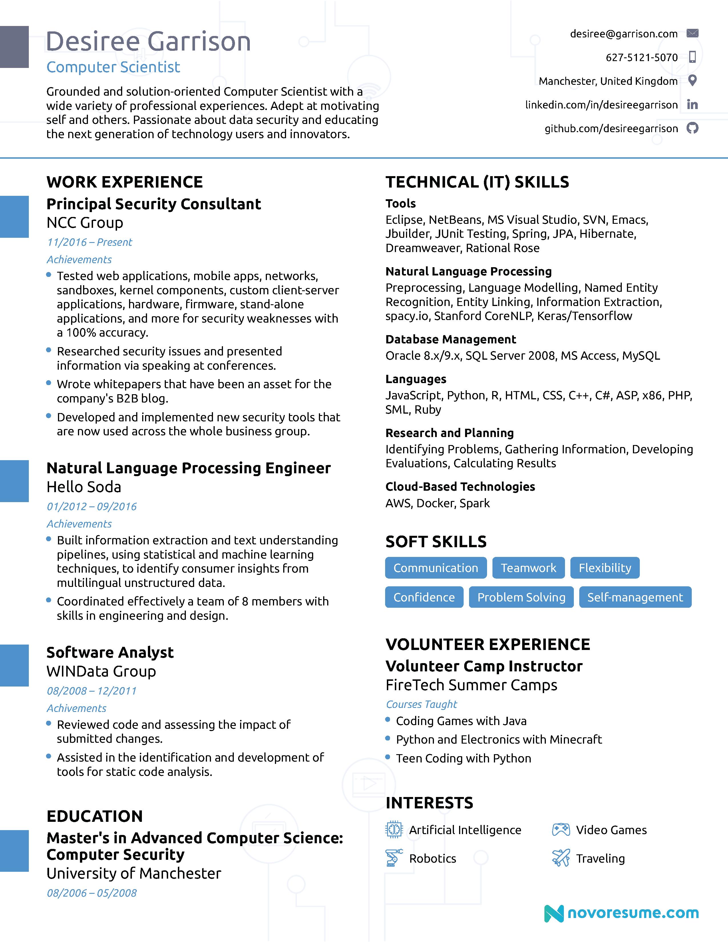 Computer Science Computer skills resume, Professional