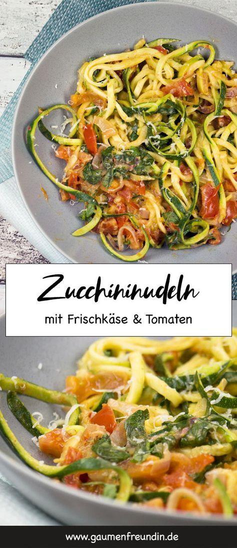 Low Carb Zucchini-Spaghetti mit Frischkäse und Tomaten #lowcarbveggies