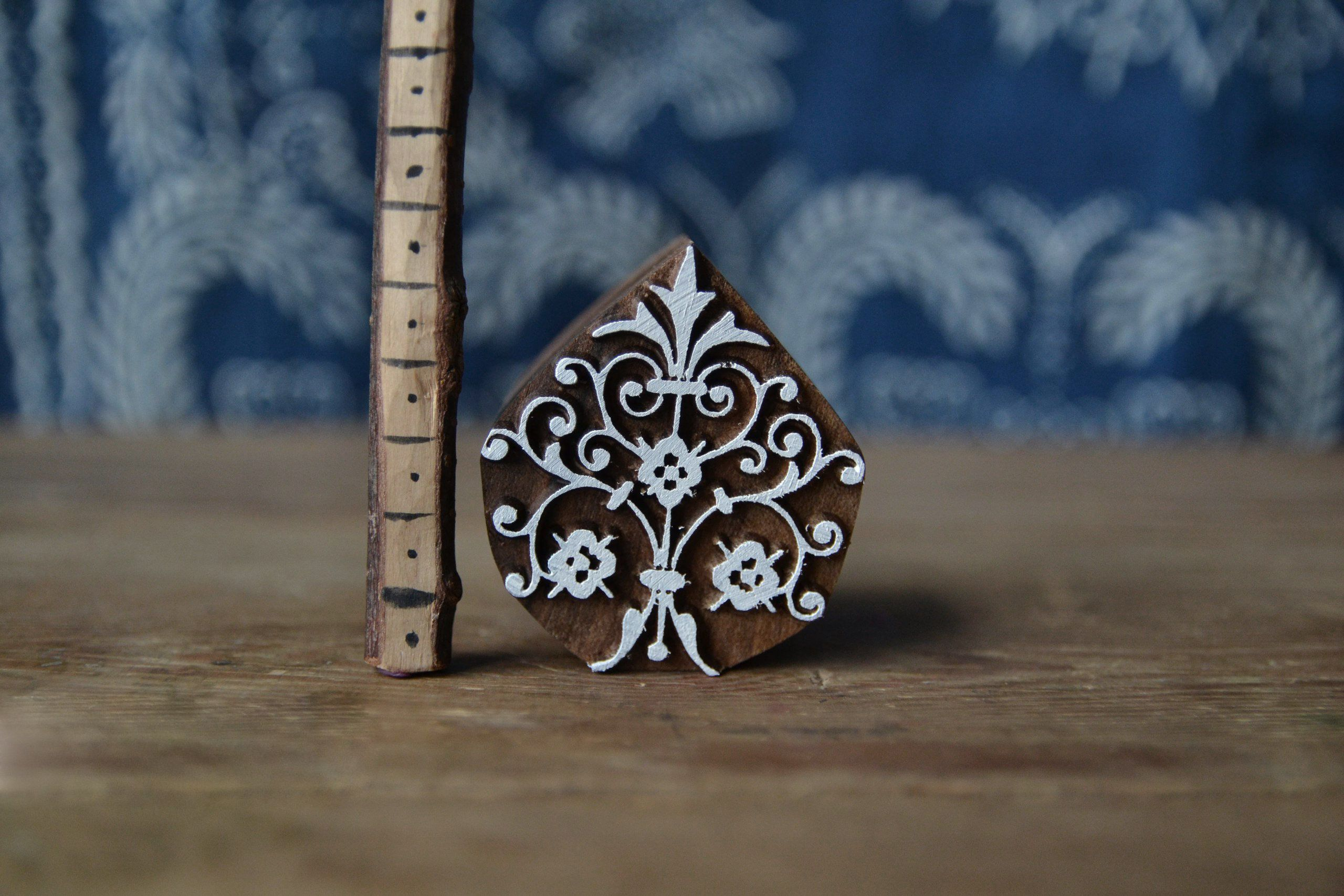 Handmade Ethnic Crafts Cards Print Making Spikelet Wooden Stamp For Block Printing Leather Gift Idea. Textile Pottery