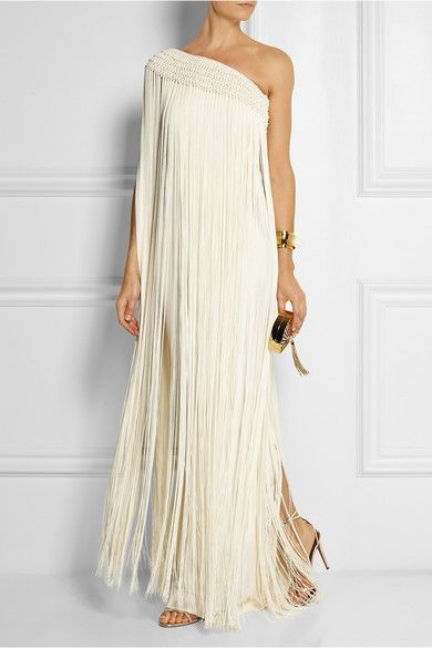 Long Tassel Fringed Silk-crepe Gown - Ivory Temperley London vUAfE9E5