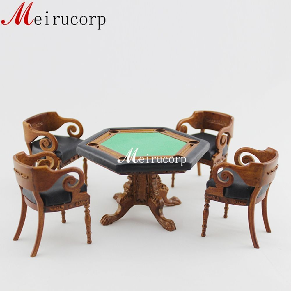 1:12 Scale Dollhouse Miniature Collectible Furniture Gaming Table And 4 Chairs #Unbranded
