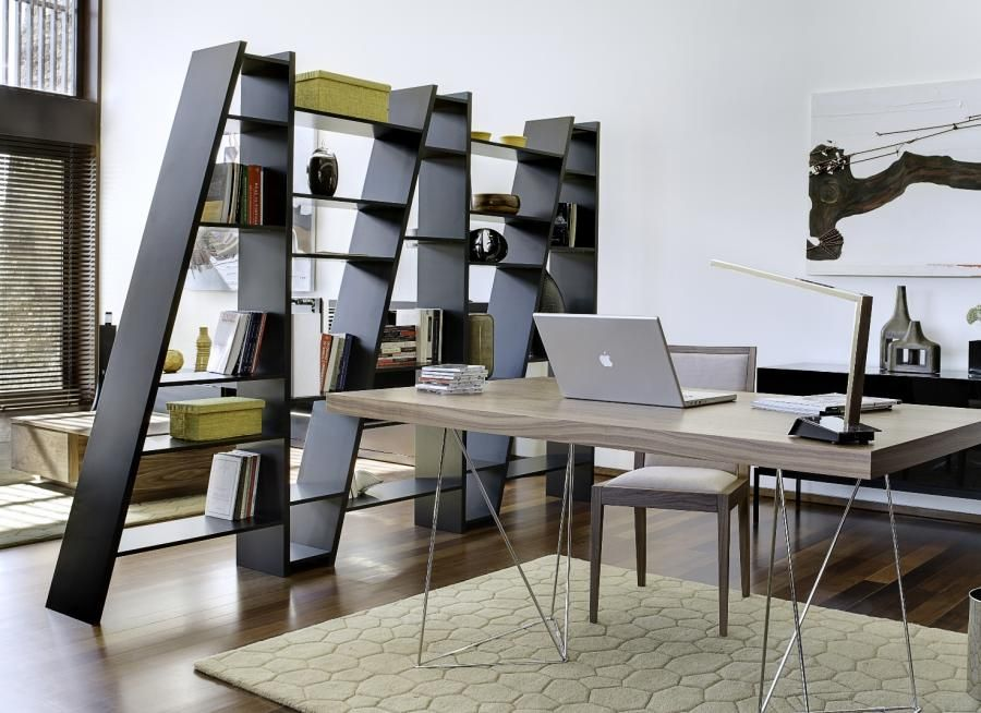 modern open bookcase serves as room divider - unique room
