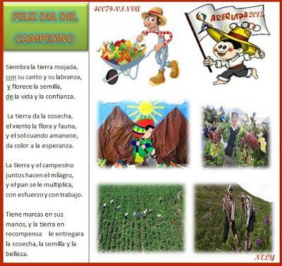 Poema Por El Dia Del Campesino Para Niños De Inicial 40079 Primaria Feliz Dia Del Campesino Dia Del Campesino Feliz