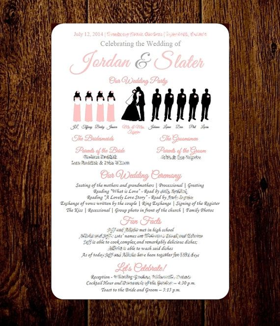 diy wedding program silhouette program by pixelromance4ever