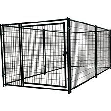 Customize your dog's outdoor kennel with Jewett Cameron's Lucky Dog Modular Welded Wire Kennel Kit. Its modular design allows you to set up a variety of layouts in order to best suit your furry friend and your backyard space. Installation is easy \u2013 simply stand the panels up in the desired configuration and bolt together. 8-gauge wire and steel construction ensures long-lasting performance. Includes two clamps with nuts and bolts for installation. \u000a \u000a Modular design maximizes layo