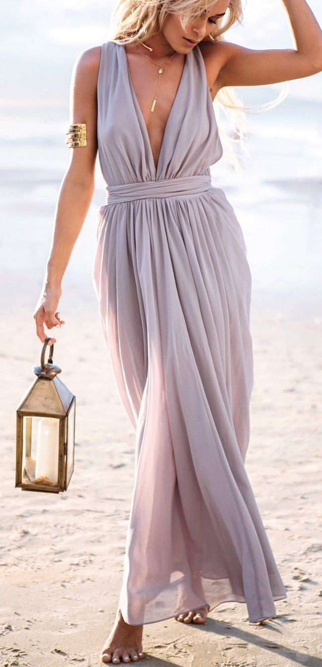Light Purple Deep V Neck Maxi Dress