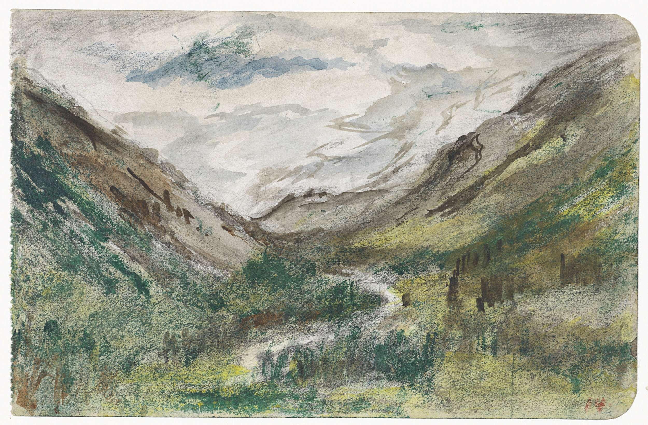 Jozef Israëls | Dal met begroeide bergen, Jozef Israëls, 1834 - 1911 |
