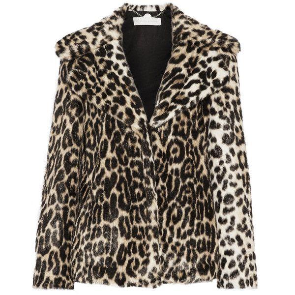 Stella McCartney Leopard-print faux fur coat (988.595 CLP) via Polyvore featuring outerwear, coats, jackets, coats & jackets, stella mccartney coat, imitation fur coats, faux fur coat, leopard print coat y lapel coat