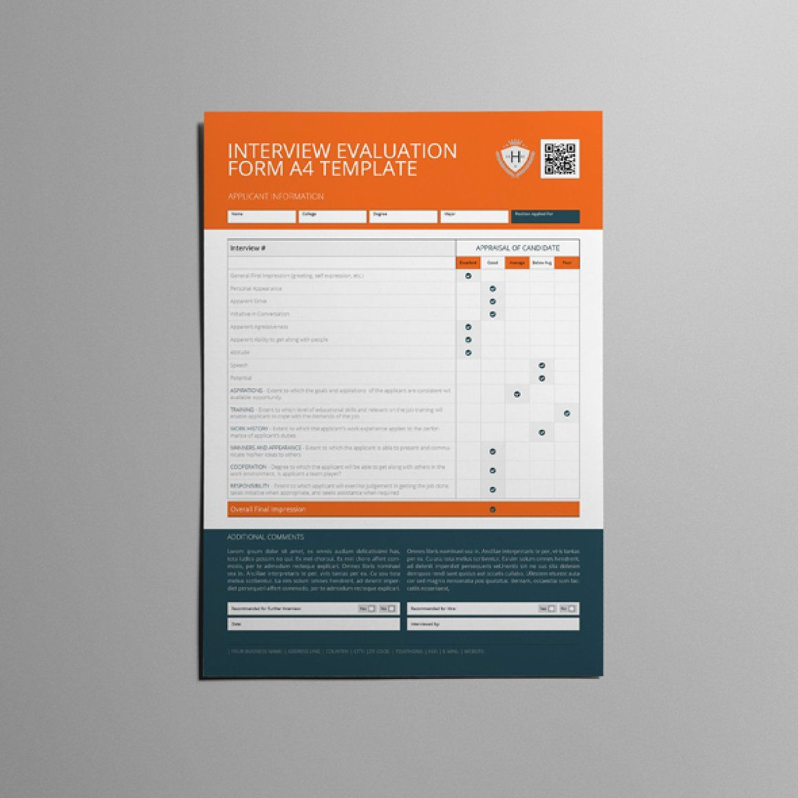 Interview Evaluation Form A4 - Templates | Templates