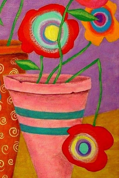 Modern Folk Art FLOWERS in Pots Original by johnblakefolkartist