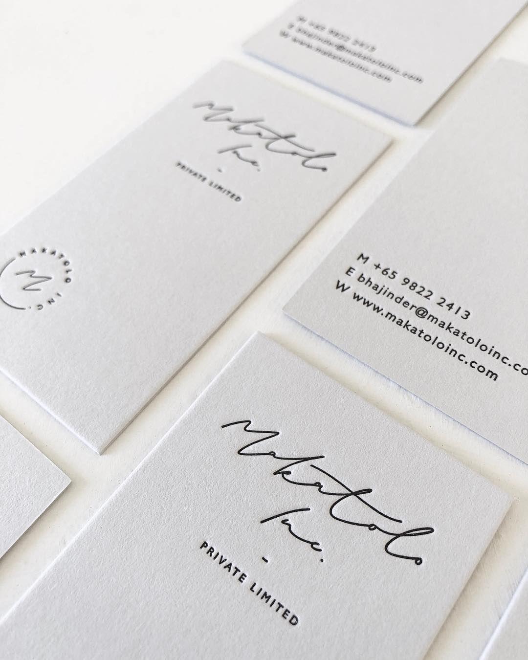 Branding For Makatolo Inc In Singapore Hand Lettered Script Black Letterpress Into 60 Printing Business Cards Jewelry Business Card Letterpress Business Cards